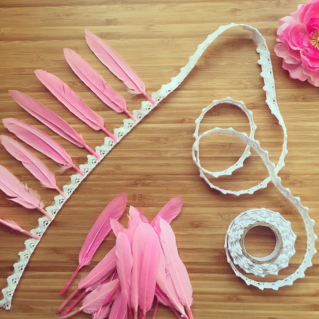 Easiest garland ever? Feathers and sticky crochet tape from @flyingtigeruk - a little detail for a girls bedroom shoot for dulux