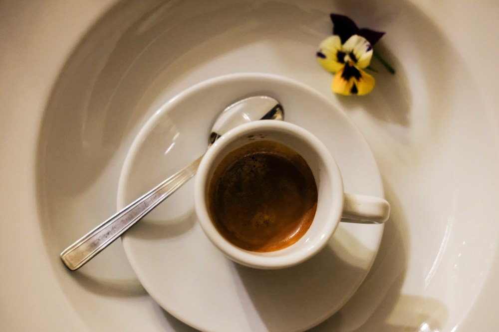 The perfect end; espresso adorned with a violet!