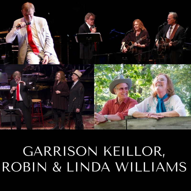 Garrison Keillor, Robin and Linda Williams | Garde Arts Center | Oct 7th | 8 PM
