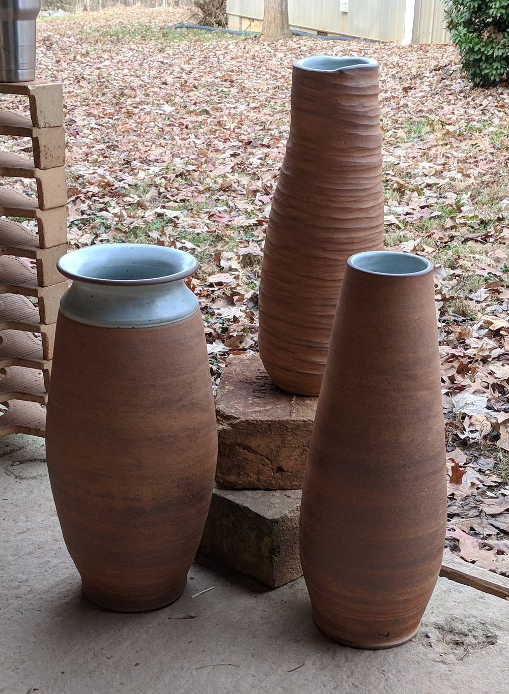thrown and coiled vases