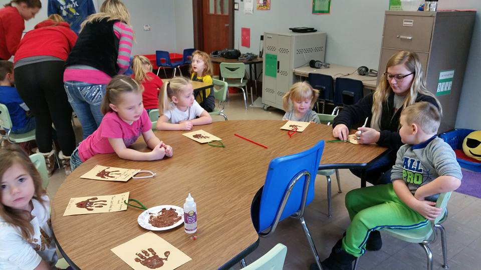 """Preschool students making hands to promote """"Then Feed Just One"""""""