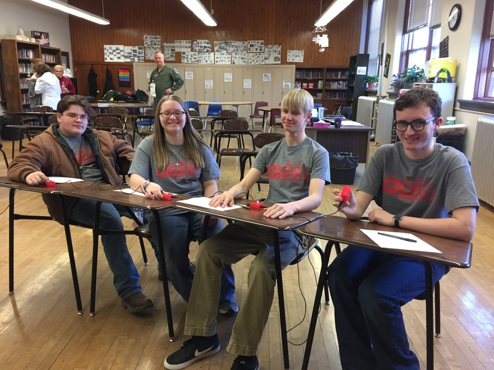 Quiz Bowl Members Left to Right: Alex Menke, Allison Stokes, Landon Christensen, and Nicholas Warren.
