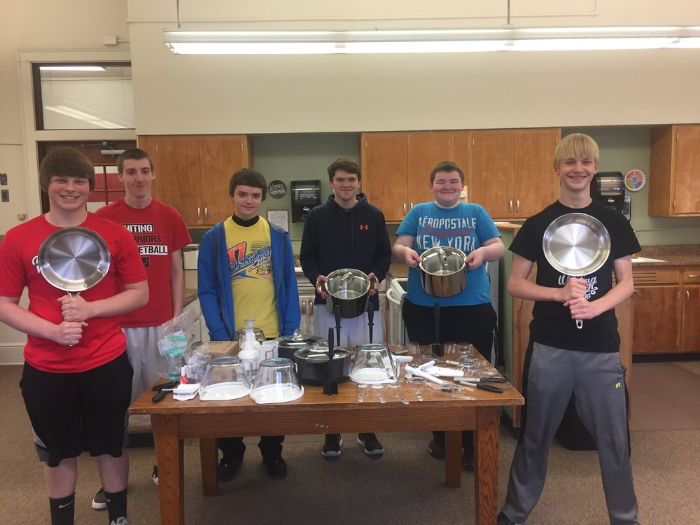 Foods 2 PM students pictured with the new Pampered Chef items.