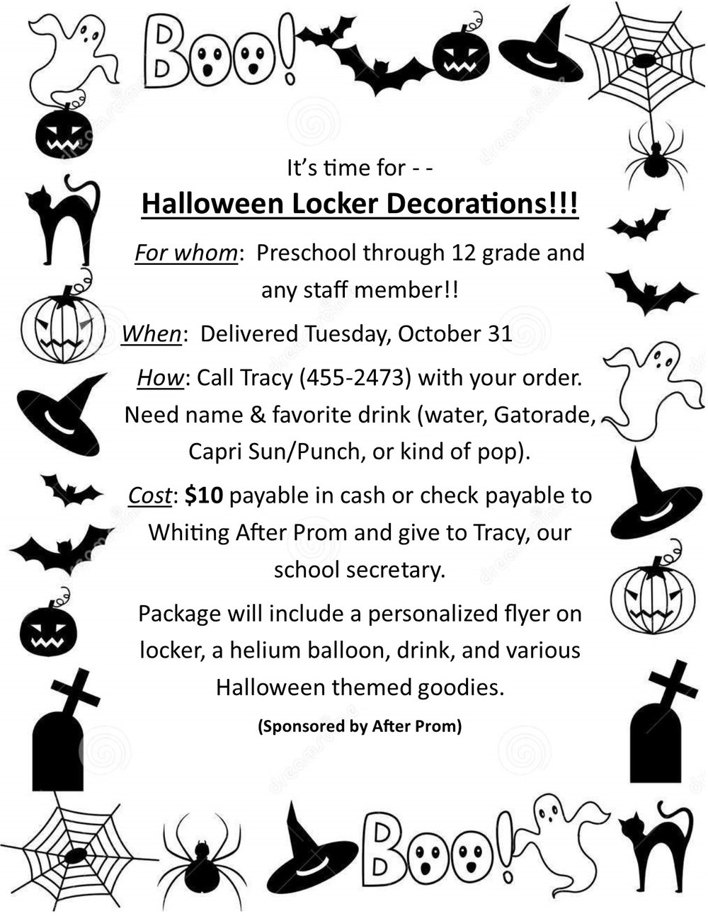 Halloween Locker Decoration Flyer 2017