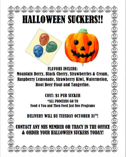 NHS Halloween Sucker Sale Flyer