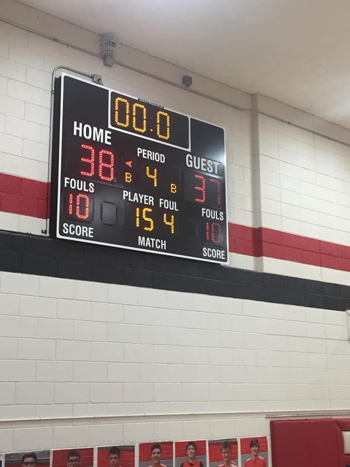 Final Score of Varsity Boys 38-37
