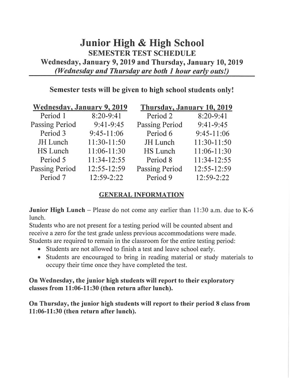 CLICK HERE TO VIEW THE JH/HS SEMESTER TEST SCHEDULE