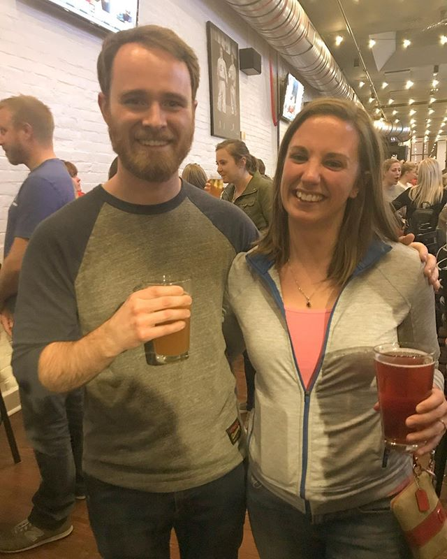 Classic old Ben meets New Ben. Last night at #Friends trivia our @bennym217 met New Ben, listener Maria! It was a fun night! #podcast #podcasting #podcaster #listener #friends