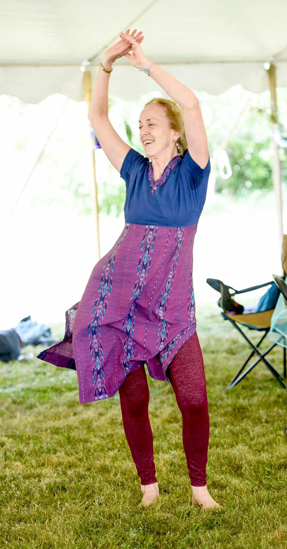 Kirtan Dance Workshop: Madhavi Mai - Description: Kirtan Dance combines the healing vibrational practice of devotional singing (nada yoga), with the whole body experience of dancing. Sessions begin with chanting a kirtan/song together, then move into dancing. Simple Indian folk and Bollywood dance moves will combine with classical dance mudras/hand gestures, and hatha yoga. Participants dance together to the same kirtan that they sing. Mind, body, and spirit are engaged in balance, allowing great joy, ecstasy, and peace to be experienced. Sessions end with a silent meditation. About: Madhavi Marcia Mai's early training in modern dance was at Oakland University in Rochester, Michigan, and at the Alvin Ailey Dance Studio in New York City. In India she began her training in Bharatanatyam at Tiveni Kala Sangam in New Delhi, but then transferred to Kalakshetra College of Fine Arts in Chenna, to study dance, dramatic theory, and carnatic vocal music. When she returned to the United States, Madhavi completed an M.A. in South and Southeast Asian Studies at the University of Michigan. Her research focused on the history of Bharatanatyam, particularly its revival in the early twentieth century, and its subsequent discovery by the West. As the Artistic Director of Sadhana Dance Theater, Madhavi performs and choreographs with the ensemble and teaches all levels of students through Sadhana Studio. From 2000-2012 she was a Lecturer in the Department of Theater, Dance, and Music at Oakland University, and returned in 2016 to teach Dance In American Culture. She has been an IAM meditation teacher at the Amma Center of Michigan for many years as well.