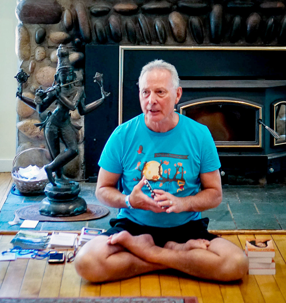 Roy Thibodeau, a longtime member of the Song of the Morning community, and leader within Song of the Morning's own school of yoga, the Golden Lotus Yoga Teachers Association, presents a meditation program in the Lodge during YogaFest 2017.