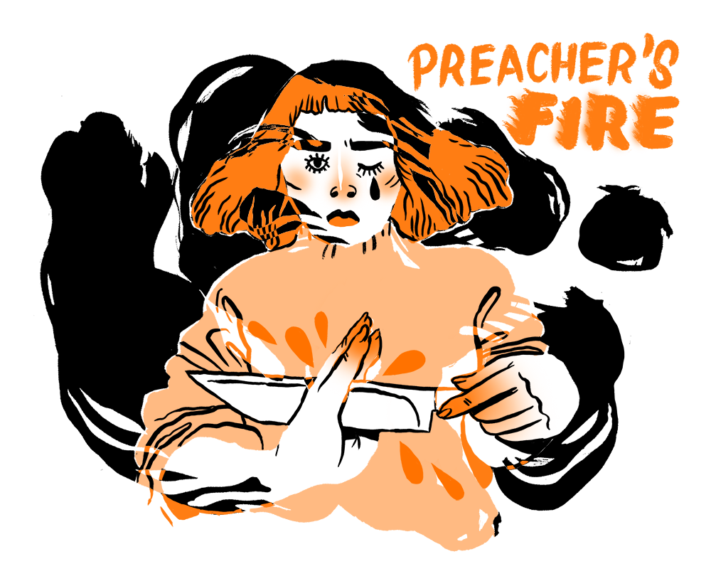 Cover design for June 2017 issue of Preacher's Fire by  Wing Club Press