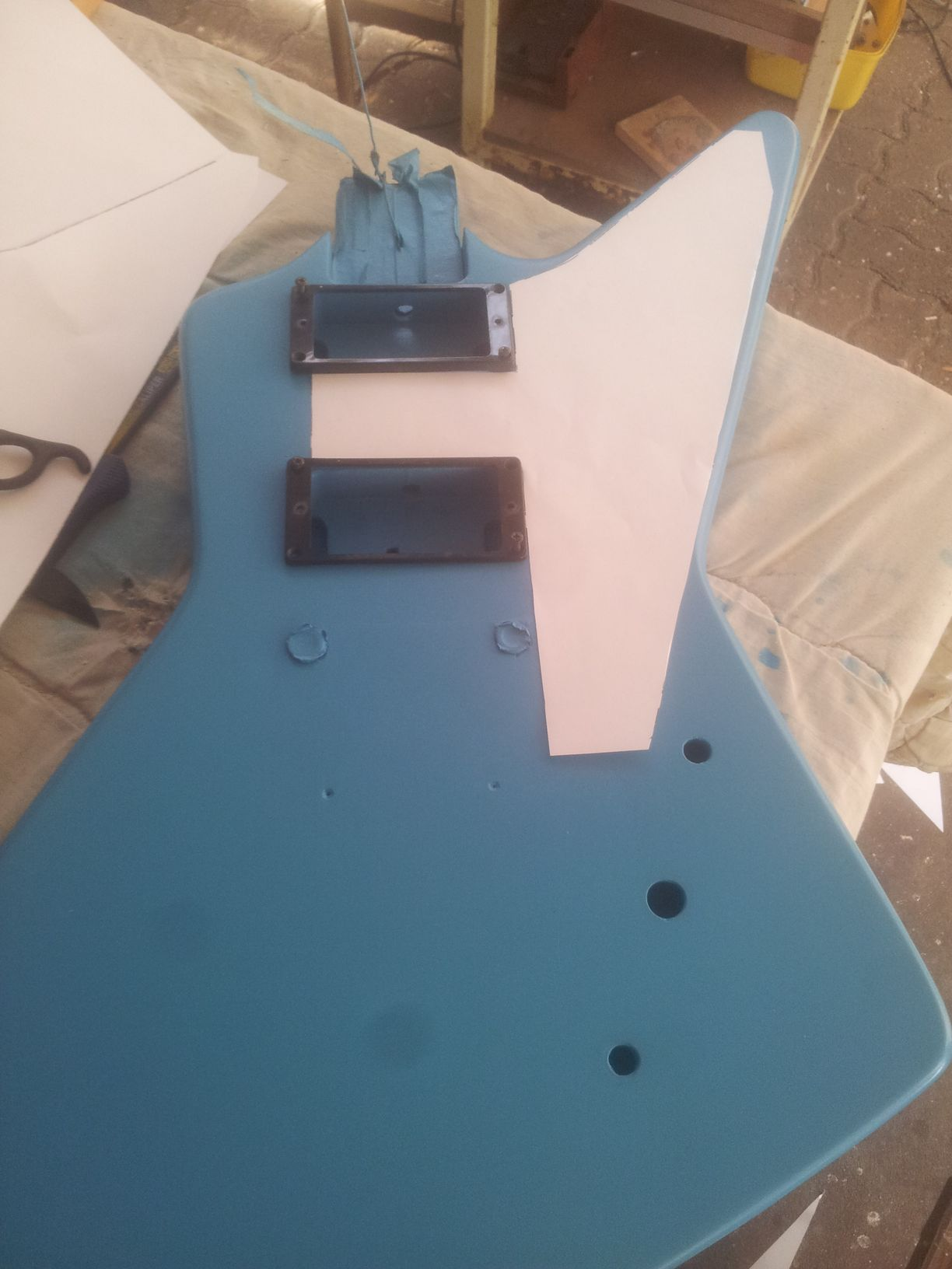 Mocking up the pickguard with an inkjet printer.