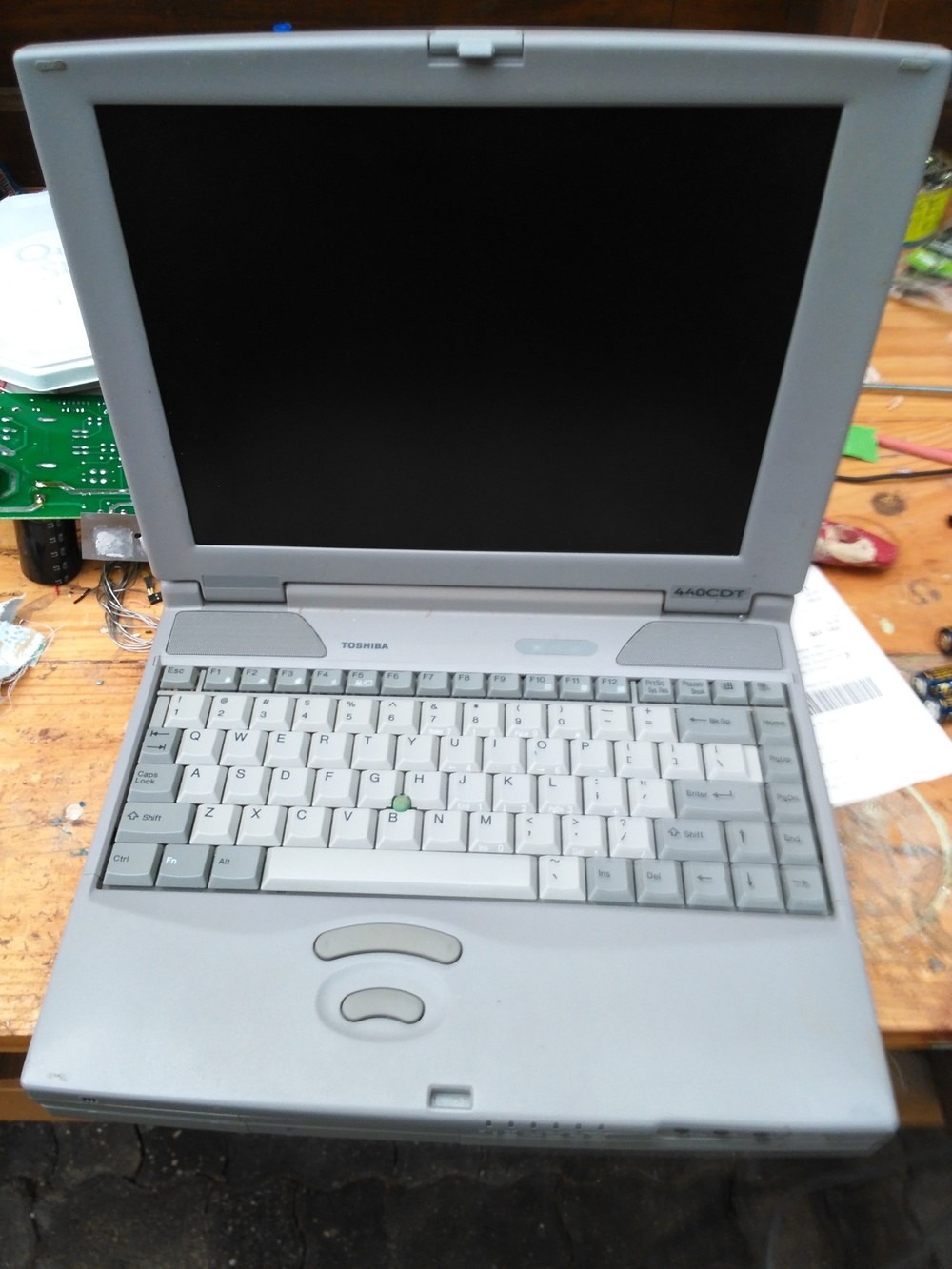 A Toshiba Satellite 440CDT. Scored for the princely sum of $10.