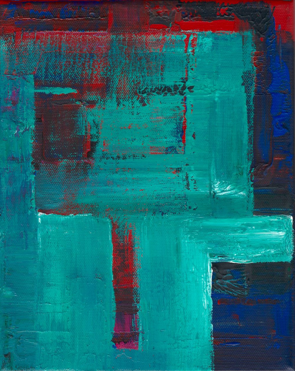 Teal, Red, Dark Untitled 2015