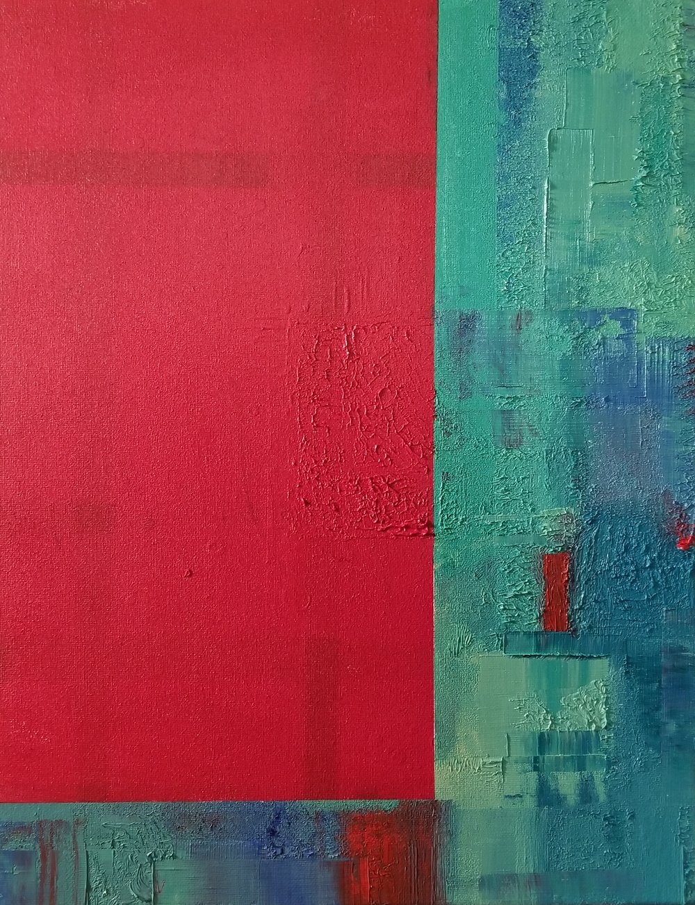 Red Box on Teal Untitled 2018