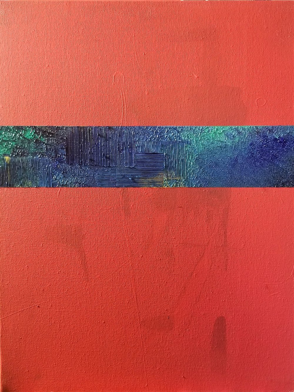 Blue Strip on Red Untitled, 2018
