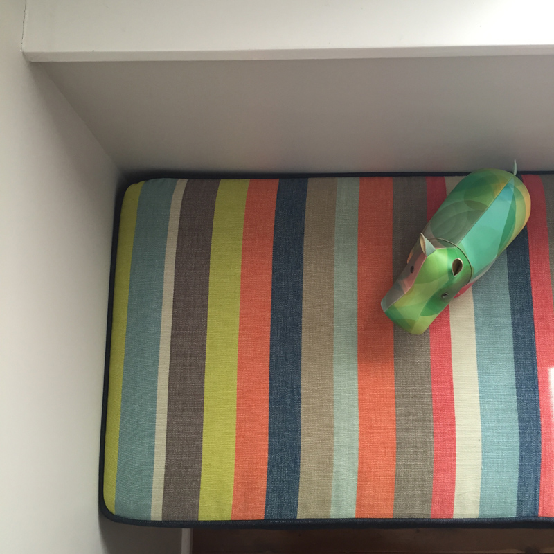 Reversible bench cushion (fabric from No Chintz)