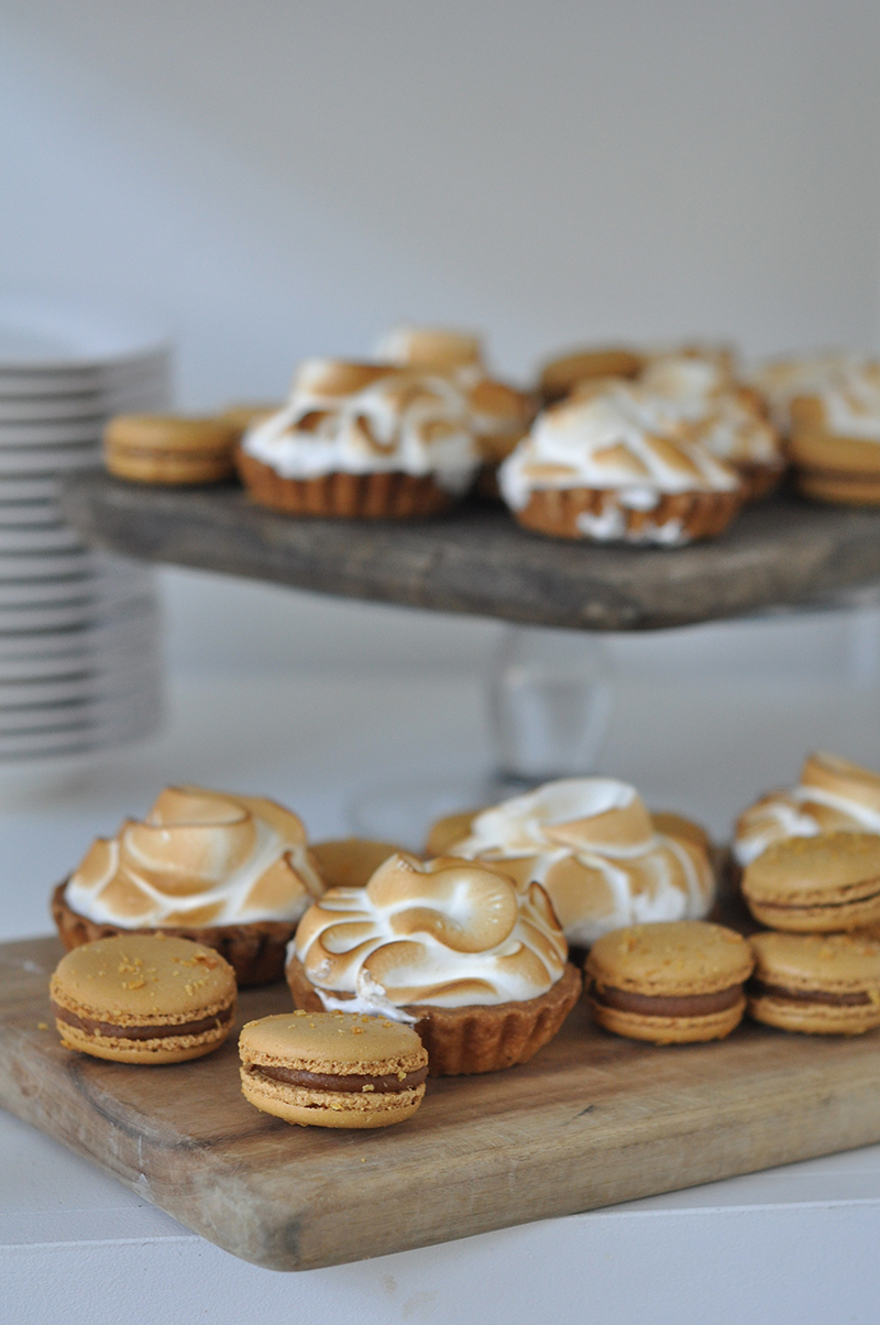 Morning tea of salted caramel macarons and lemon meringue tarts.
