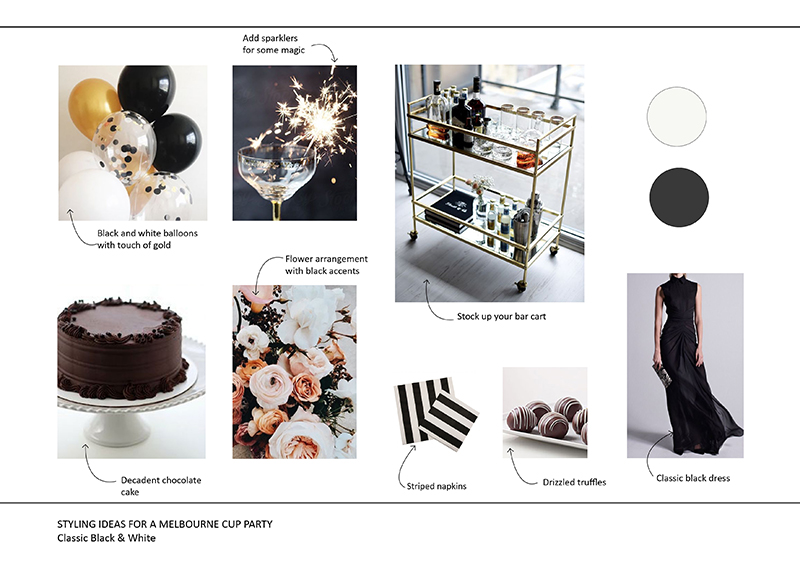 Black and white party mood board