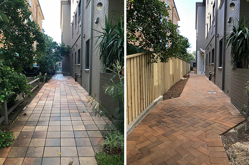 Entrance pathway: before and during