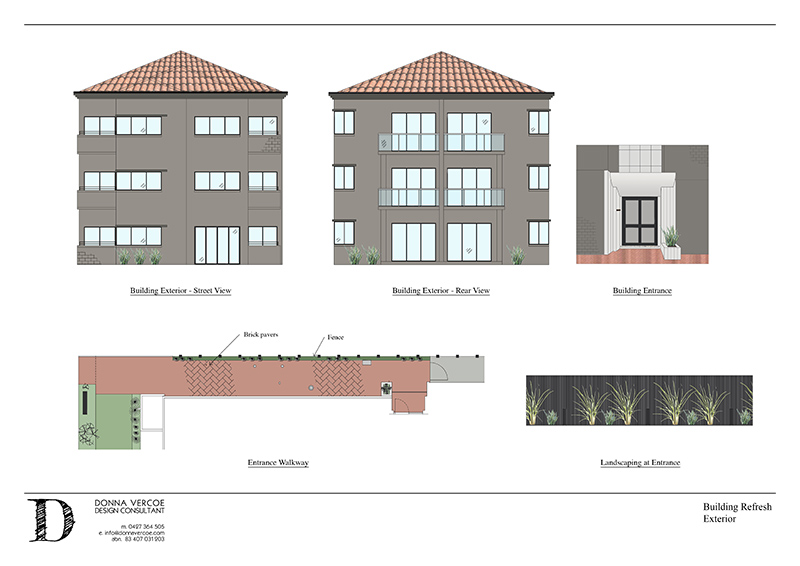 Building Upgrade: External renders created with AutoCAD and PhotoShop and presented in Indesign