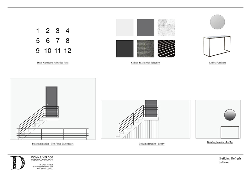 Building Upgrade: Internal renders created with AutoCAD and PhotoShop and presented in Indesign