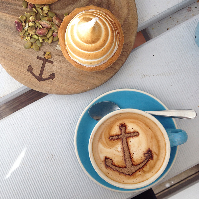 Boathouse coffee with lemon meringue tart
