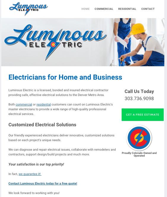 LuminousElectricCo.Com Homepage