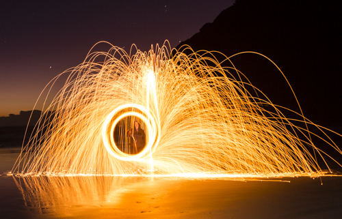 In this one, the chain length was changed during the exposure, hence the double ring of fire
