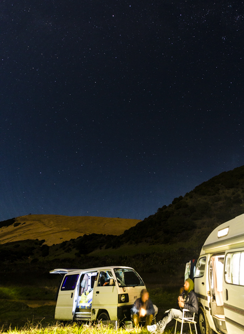 Camping under the stars, waiting for waves