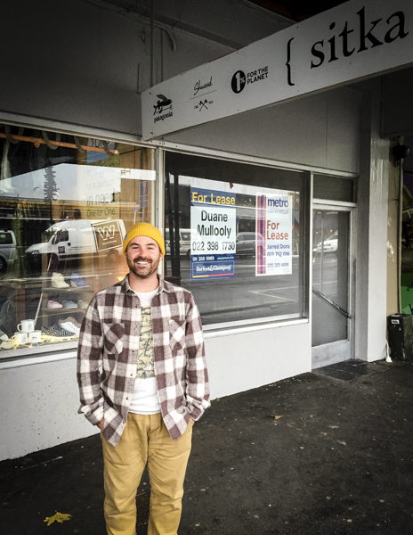 Andrew Howson, stoked to be in Ponsonby Road, and stoked to have the Sitka pop up- up