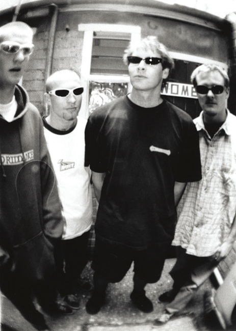 The Muckers - back in 1995, behind the Felix rehearsal rooms in Symonds St...lurking outside the womens..as they did- Photo:CPL