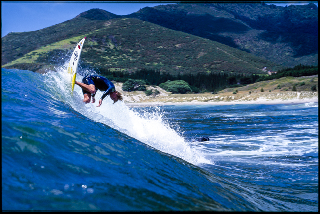Larry Fisher December 1994; Rip Curl used this image as a Double Page Spread, NZ's Ceo Paul Muir citing that the background made it such a Kiwi photo. And for that reason it was also used as one of the opening spreads in the book PhotoCPL.