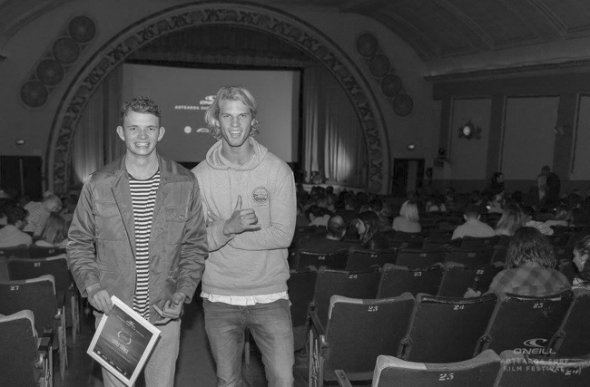 Billy and his good mate Arden at the finale of the Aotearoa Surf Film Fest 2016