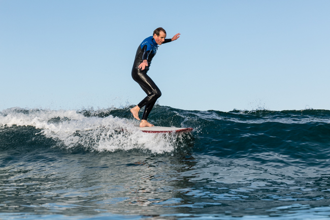 For the last few years Roger has been developing finless designs, harking back the the Hot Curl concept. This 8'8 is his favourite at the moment, he reckons on the cross step the acceleration is crazy