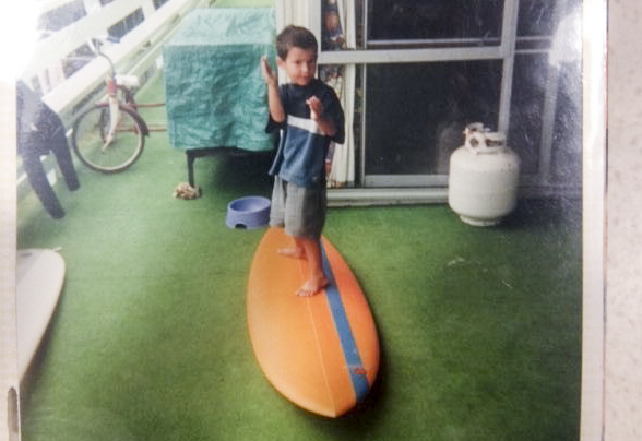 A four year old Dune in barrel stance on the deck at Fresh Squeezed, Shadee Lane 2000.
