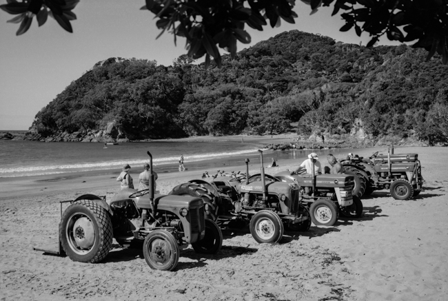 Little Bay Tractors, Coromandel. Shot on Kodak T-max 100 film with the Fuji GSX690 camera. Kiwiana as!