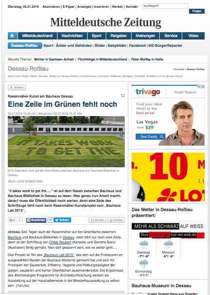 """""""Eine Zeile im Grünen fehlt noch""""  Mitteldeutsche Zeitung"""