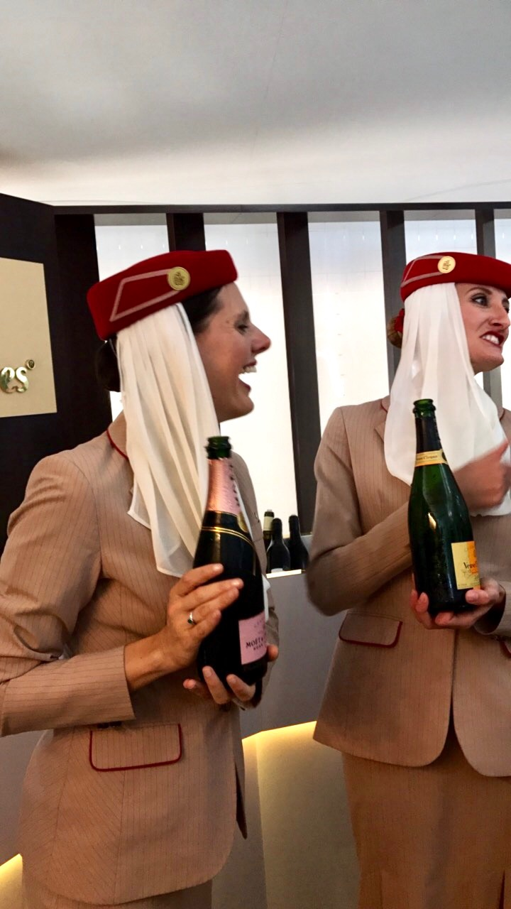 Emirates cabin crew members!