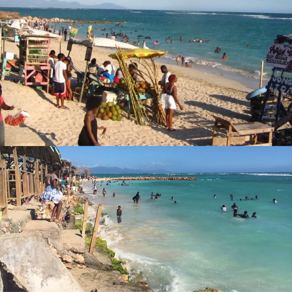 Top, Hellshire Beach, January 2009, taken by Kamilah Taylor. Bottom, Hellshire Beach, January 2016, taken by Gabrielle Taylor. Both photos taken at Prendy's.