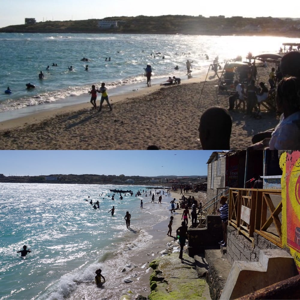 Top, Hellshire Beach, January 2009, taken by Kamilah Taylor. Bottom, Hellshire Beach, January 2016, taken by Kamilah Taylor. Both photos taken at Prendy's.