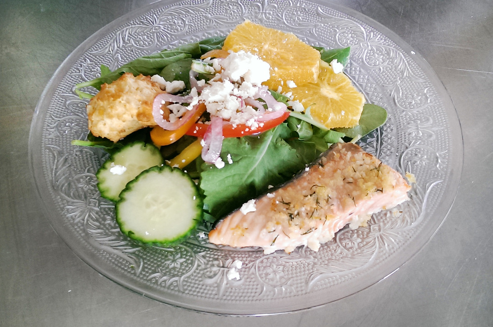Citrus Salad with Crusted Baked Salmon and Cheddar Biscuit