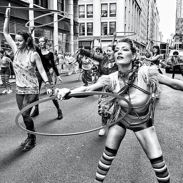 Feeling the @danceparadenyc last Saturday 🌈👌🏼it's one of my favorite community events of the year: dancing with old and new hoop friends soaking up the energy from the crowds. Photo repost from @milohessphoto 🙏🏼🌈🌈🌈🌈