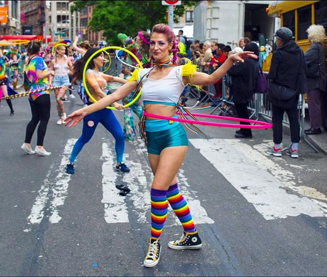 Thank you @thehoopmovement for leading our rainbow of hoopers in yesterday's @danceparadenyc - such a fun day as always! 🌈🌈🌈 📷@gjvigliotti for @nydailynews 👩🏼🎤💋💄👌🏼@sokphallaban