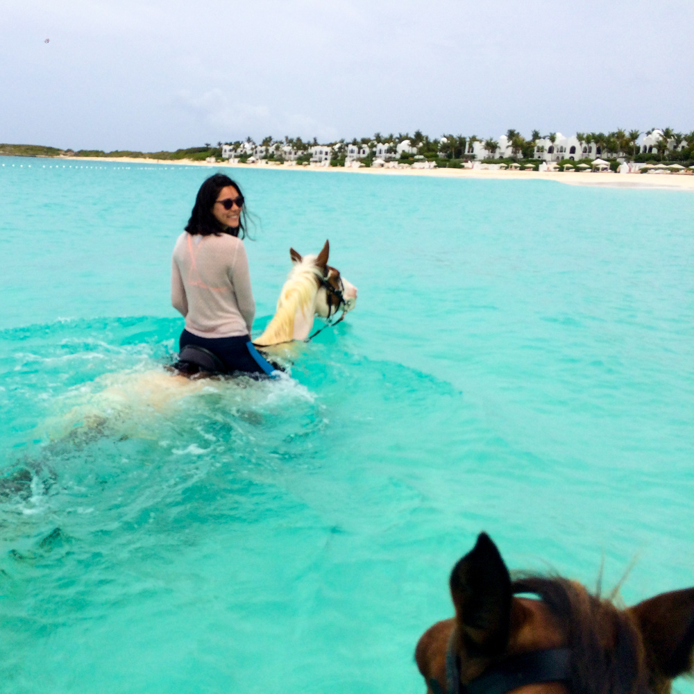 The only thing better than a Caribbean horseback ride on the beach is one in the water.