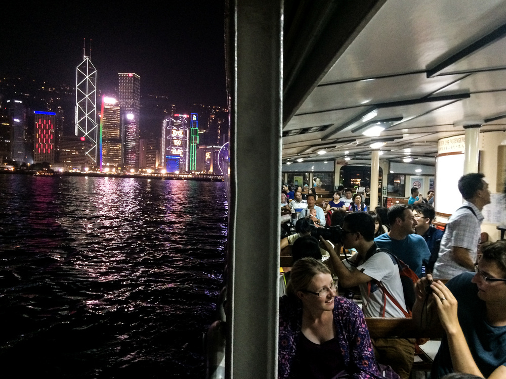 Ferry to Kowloon at night