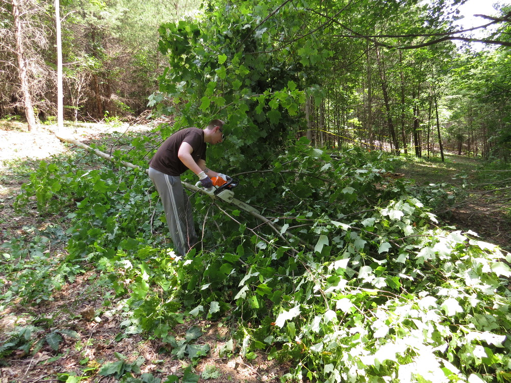 Brandon, now known by the super-hero name Chain Saw, hard at work.