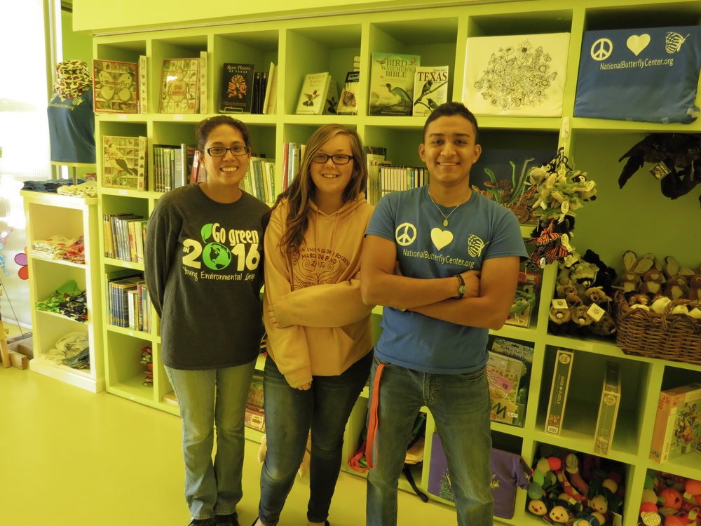 Our April with gift shop manager Angie (left) and weekend assistant Marcelos (right).