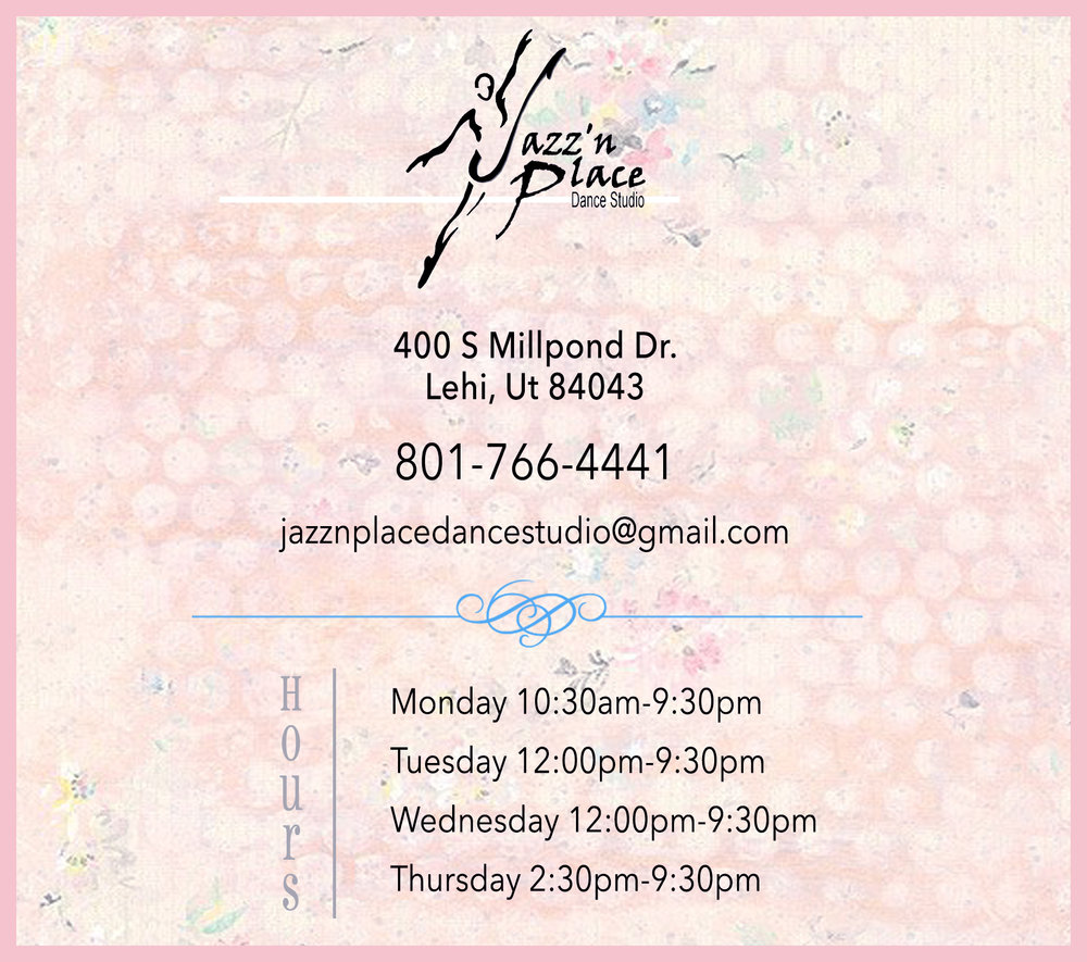Jazz'n Place Dance Studio Lehi Utah County Contact Us Hours Phone Number Address Email Address
