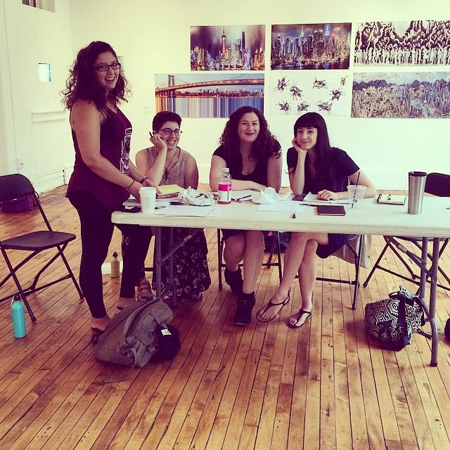 From left to right: Emily Rosenkrantz, SM; Phoebe Brooks, director ( The Country Wife ); Francesca Di Cesare, director ( The C*nt ); Elle Anhorn, playwright ( The C*nt) .